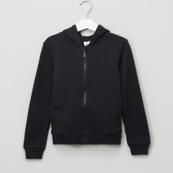 Juniors Terry Hooded Zip Through Sweat Top