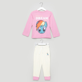 My Little Pony Printed T-Shirt with Striped Jog Pants