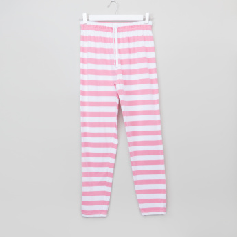 Juniors Striped Raglan Sleeves T-Shirt and Pyjamas Set