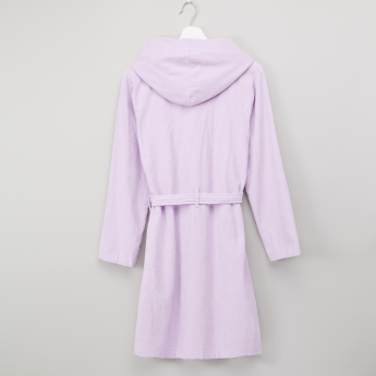 Juniors Long Sleeves Embroidered Bathrobe with Tie Ups