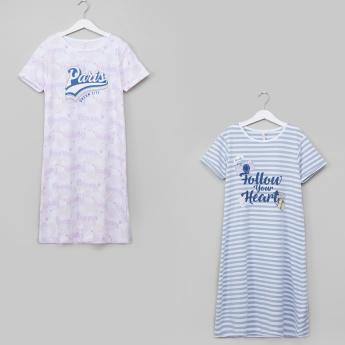 Juniors Printed Short Sleeves Night Dress - Set of 2