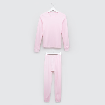 Juniors Thermal Long Sleeves T-Shirt with Jog Pants