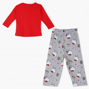 Hello Kitty Printed T-Shirt and Pyjama Set