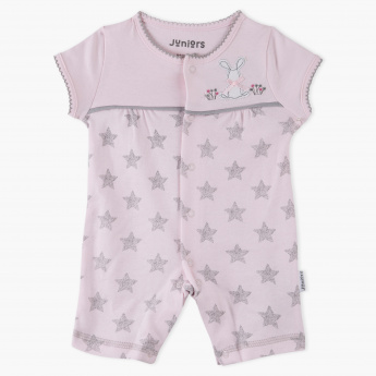 Juniors Star Print Rompers with Applique