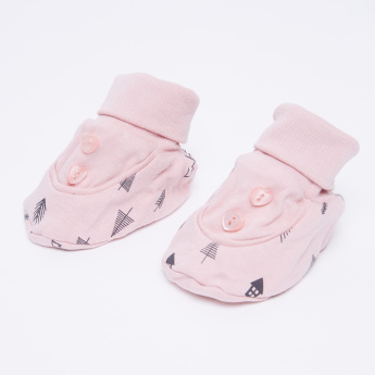 Juniors Printed Booties with Button Detail