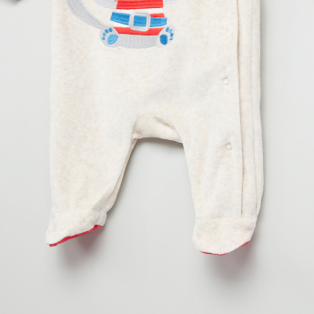 Juniors Embroidered Long Sleeves Closed Feet Sleepsuit