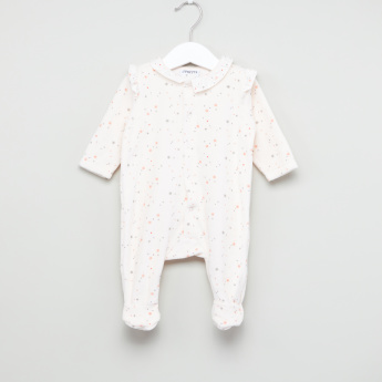 Juniors Printed Frill Detail Closed Feet Sleepsuit