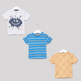 Juniors Printed Round Neck T-Shirt - Set of 3