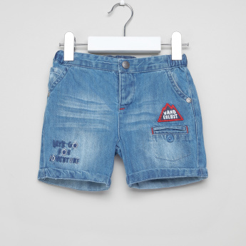 Juniors Denim Shorts with Applique Detail and Button Closure