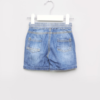 Juniors Denim Shorts with Elasticised Waistband and Drawstring