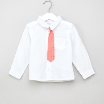 Juniors Solid Long Sleeves Shirt with Printed Tie