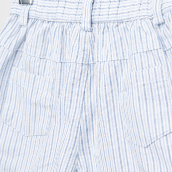 Juniors Striped 4-Pocket Woven Shorts with Button Closure