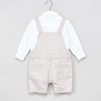 Juniors Textured Shirt and Dungaree Set