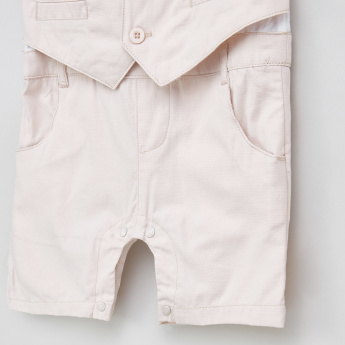 Juniors Colourblock Panelled Cotton Romper with Bow Detail