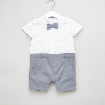 Juniors Printed Romper with Short Sleeves and Bow Detail