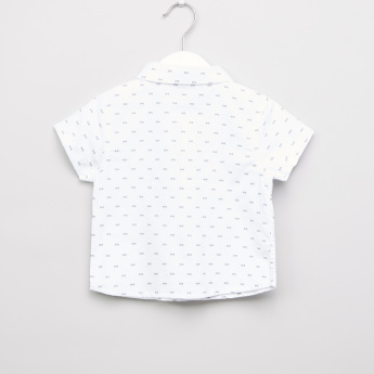 Giggles Printed Shirt with Short Sleeves and Welt Pocket