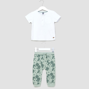 Giggles Henley T-shirt and Printed Joggers Set