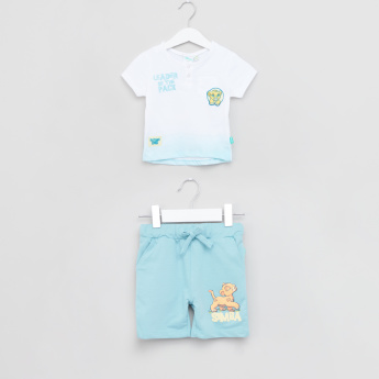 The Lion King Printed Henley Neck T-Shirt and Pocket Detail Shorts