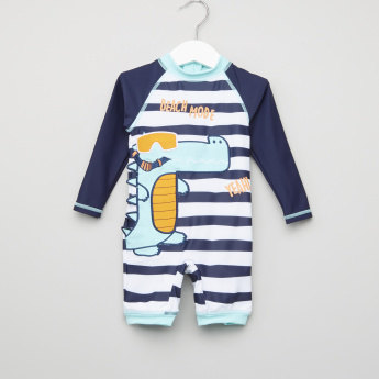 Juniors Striped Raglan Sleeves Romper
