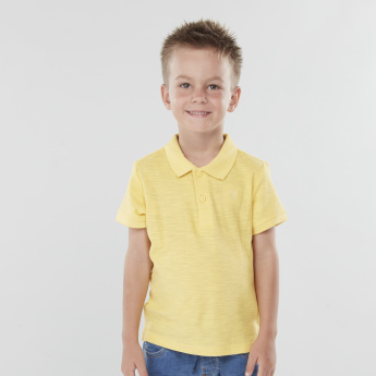 Juniors Solid Polo Neck T-shirt with Short Sleeves
