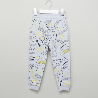 Juniors Printed Pocket Detail Jog Pants with Drawstring