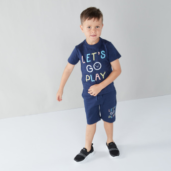 Juniors Printed Cotton 3-Piece T-shirt and Shorts Set