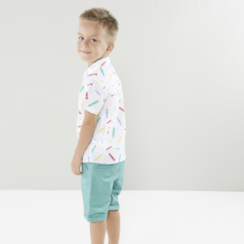Juniors Printed Short Sleeves Shirt with Pocket Detail Shorts