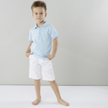 Juniors Solid T-shirt with Polo Neck and Short Sleeves