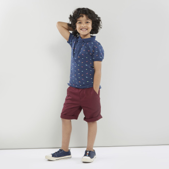 Juniors Printed Polo T-shirt with Ribbed Sleeve Hems