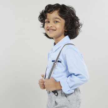 Juniors Solid Collared Shirt with Long Sleeves and Patch Pocket