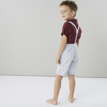 Juniors Cotton Shirt with Short Sleeves and Welt Pocket