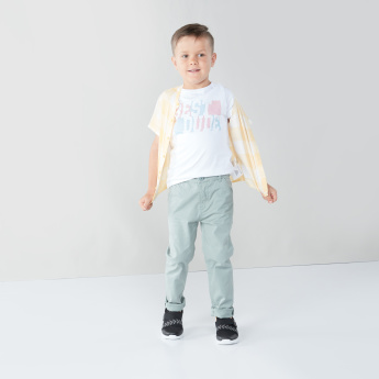 Juniors Woven Pants with Button Closure