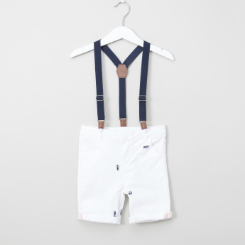 Juniors Pocket Detail Shorts with Suspenders