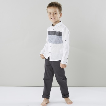 Juniors Striped Shirt with Pocket Detail Pants