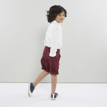 Juniors Printed Collared Shirt and Shorts with 4-Pockets
