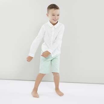 Juniors Printed Shirt with Pocket Detail Shorts