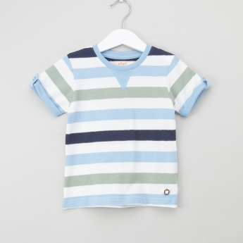 Eligo Striped T-shirt with Round Neck and Short Sleeves