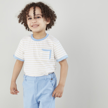 Eligo Striped Pocket Detail T-shirt and Shorts Set