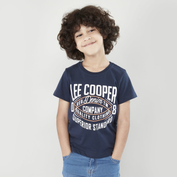Lee Cooper Printed Round Neck T-shirt with Denim Shorts