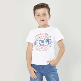 Lee Cooper Printed Short Sleeves T-shirt with Denim Shorts