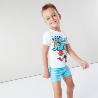 Tom and Jerry Printed Short Sleeves Swimwear T-shirt with Shorts