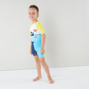 Juniors Printed Swimsuit with Zip Closure
