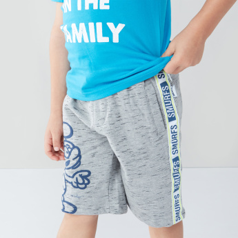 The Smurfs Printed Shorts with Tape Detail
