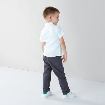 Juniors Printed Cotton Shirt with Welt Pocket