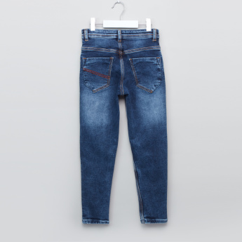 Juniors Whiskered Finish Jeans with Pocket Detail
