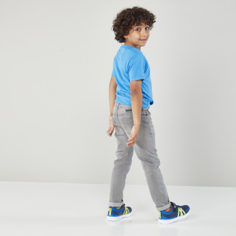 Juniors Woven Denim Pants with 4-Pocket and Button Closure