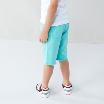 Juniors 5-Pocket Cotton Shorts with Frayed Hems