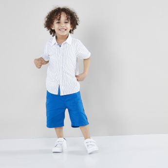 Juniors Striped Short Sleeves Shirt with Tape Detail Shorts
