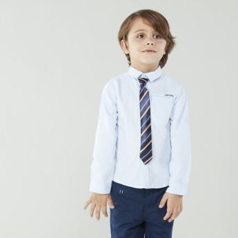 Juniors Solid Long Sleeves Shirt with Striped Neck Tie