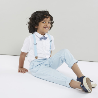 Juniors Solid Collared Shirt with Short Sleeves